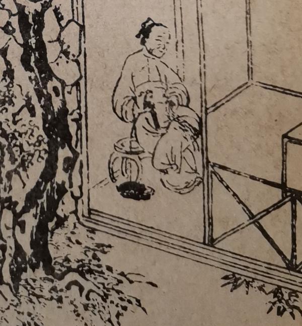 """绣本第四回""""赴巫山潘氏幽欢 闹茶坊郓哥义愤""""插图局部。绣本,选自广西美术出版社《金瓶梅/插图集》下同。"""