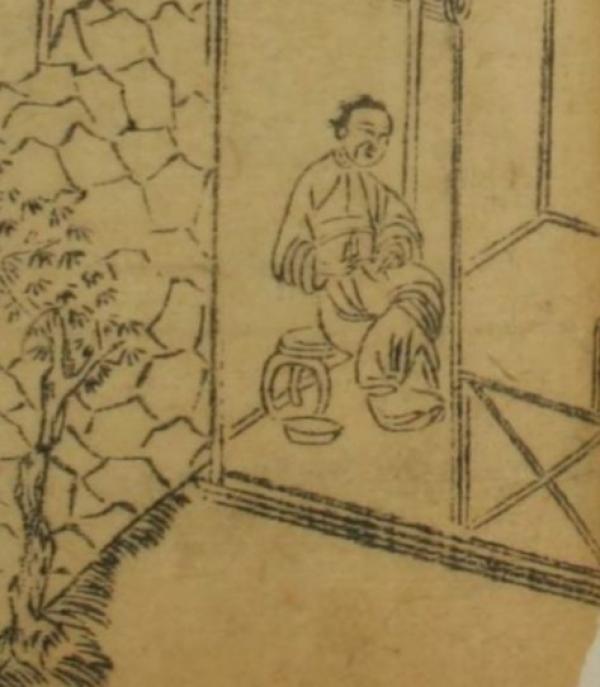 """张本第四回""""赴巫山潘氏幽欢 闹茶坊郓哥义愤""""插图局部。张本,选自日本早稻田大学藏本,下同。"""