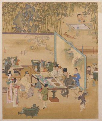 仇英,《人物故事图》册之竹院品古,明,绢本设色,每开纵41.4厘米,横33.8厘米。