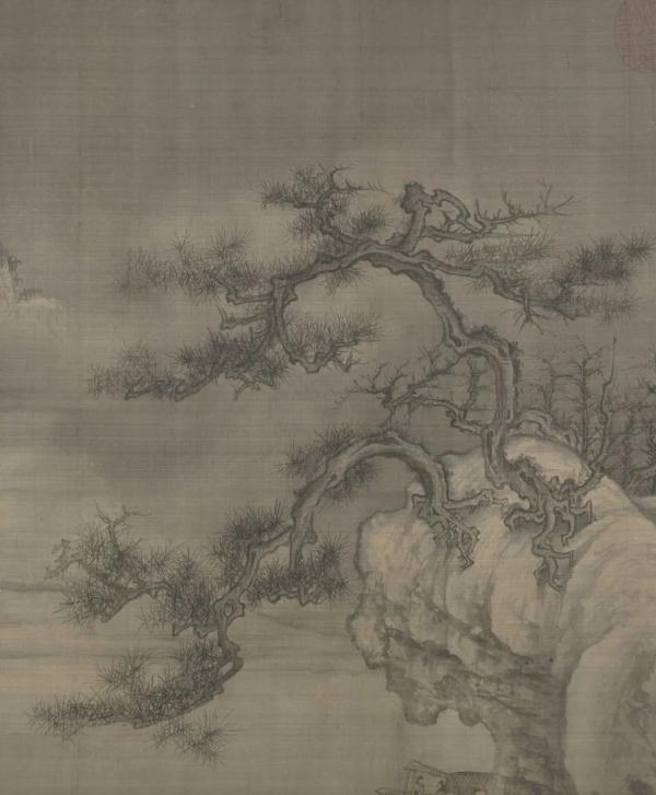 王诜,《渔村小雪图》卷(局部),北宋,绢本,设色,纵44.5厘米,横219.5厘米