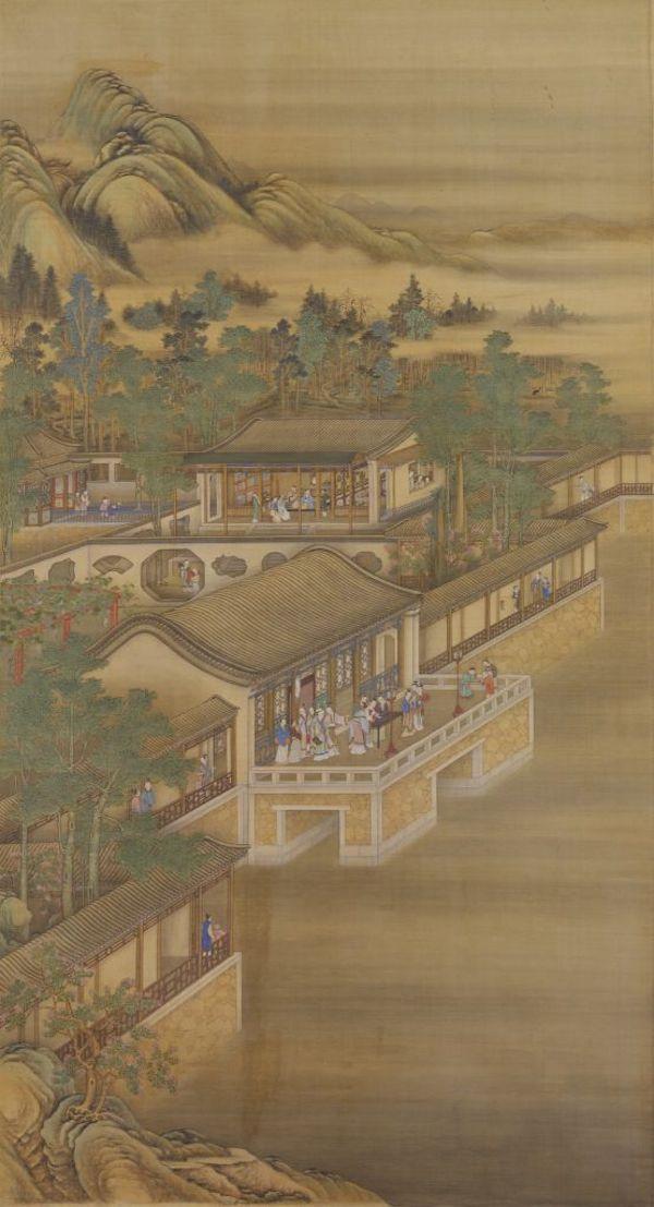 清 《雍正十二月行乐图轴》之七夕之夜 故宫博物院藏