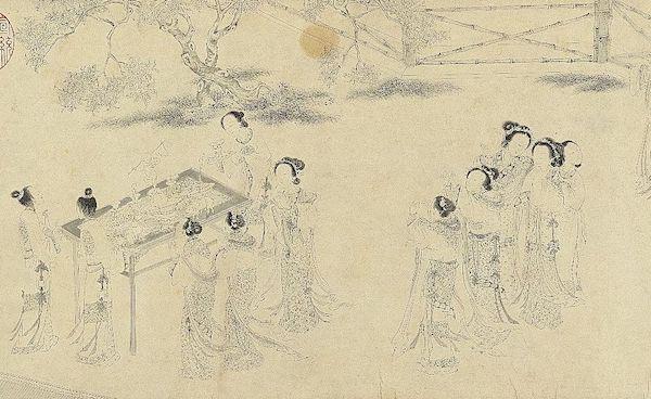 明 仇英 《乞巧图》(局部) 台北故宫博物院藏