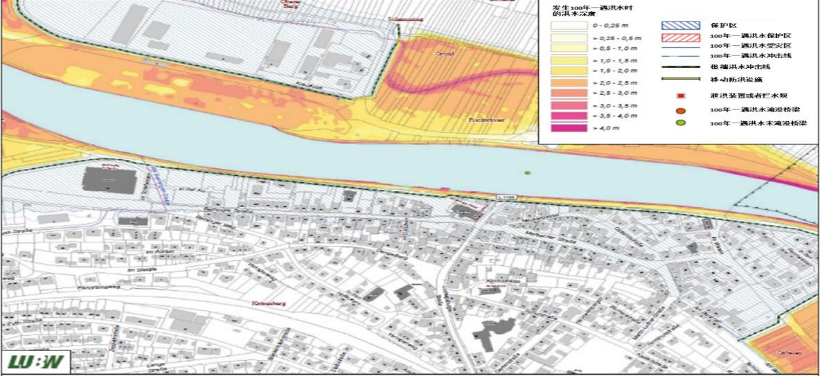 100年一遇的洪水灾害发生时的洪水深度以及技术防洪设施布局示意图。