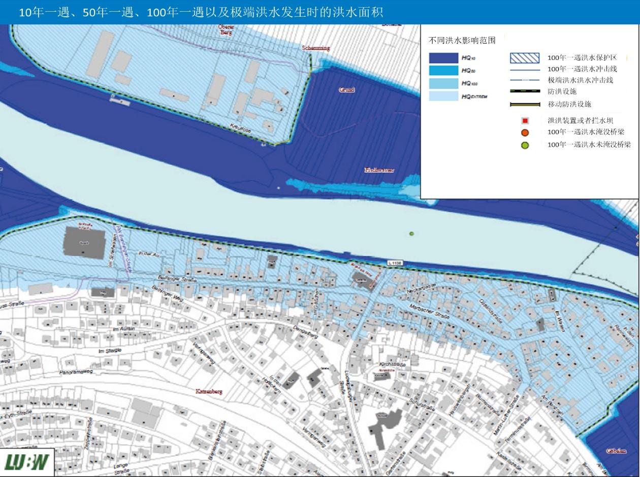不同频率的洪水暴发时波及的空间范围示意图。
