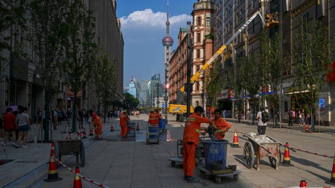 城事|南京路步行街東拓段開街在即,新路面讓你腳下生輝
