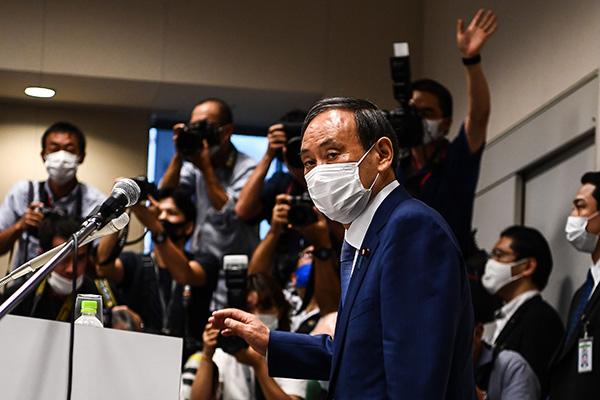 当地时间2020年9月2日,日本东京,日本内阁官房长官菅义伟召开新闻发布会,正式宣布参加自民党总裁选举。人民视觉 图