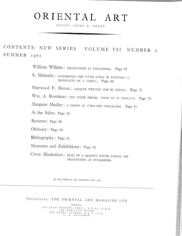 图2 1961年的《东方艺术》(Oriental Art)刊出《逸品画风》英译篇的目录