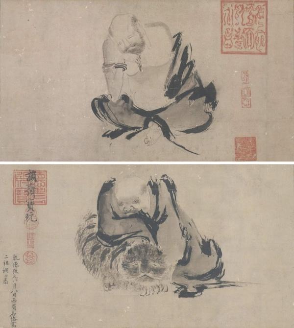 图4北宋,石恪,《二祖调心图》,纸本水墨,35.5x129厘米,日本东京国立博物馆藏。