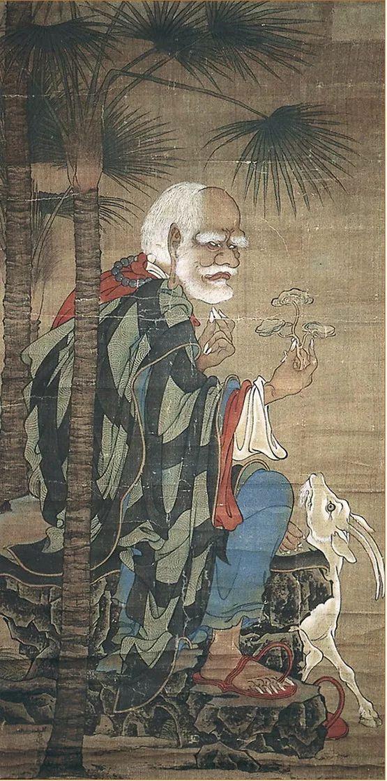 图5 五代,贯休,《十六罗汉图·诺距罗》, 绢本设色,129.1x65.7厘米,日本高台寺藏。