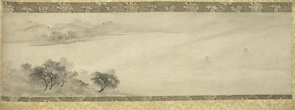 图6 南宋,牧溪,《潇湘八景·远浦归帆》,轴,纸本墨笔,32.3 x 103.6厘米,日本文化厅藏。