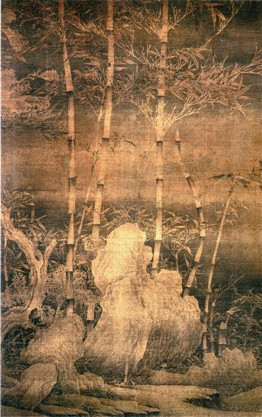 图7 传五代,徐熙,《雪竹图》,轴,绢本墨笔,149.1X99.1厘米,上海博物馆藏。