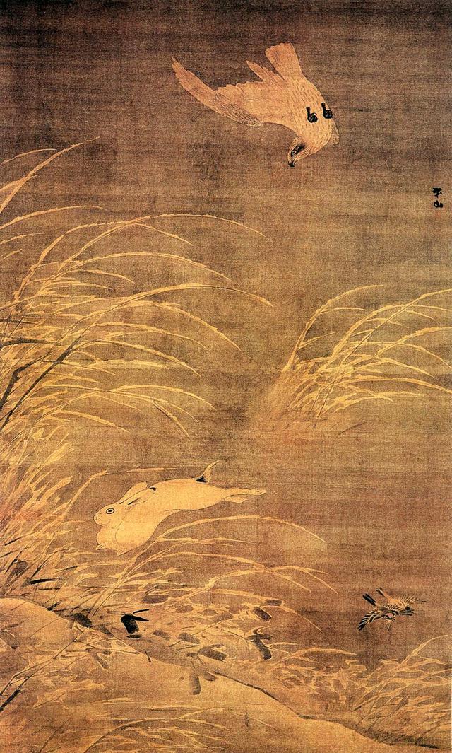 图8 明代,张路,《苍鹰逐兔图》,轴,绢本设色,158X97厘米,南京博物院藏。