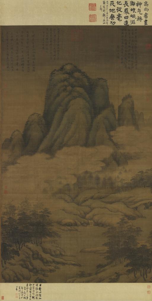 图15 元代,高克恭,云横秀岭图,轴,纸本设色,182.3x106.7厘米,台北故宫博物院藏。