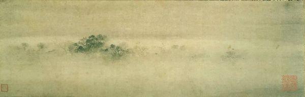 图20 南宋,牧溪,《烟寺晚钟》,轴,纸本水墨,33x104厘米,畠山纪念馆藏。