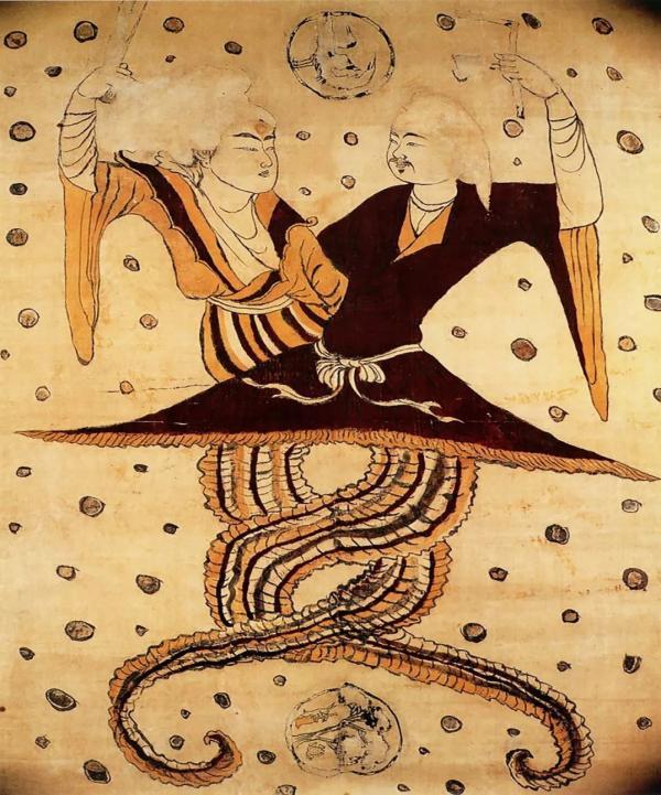 唐代《伏羲女娲图》,1928年新疆吐鲁番采集,现藏国家博物馆