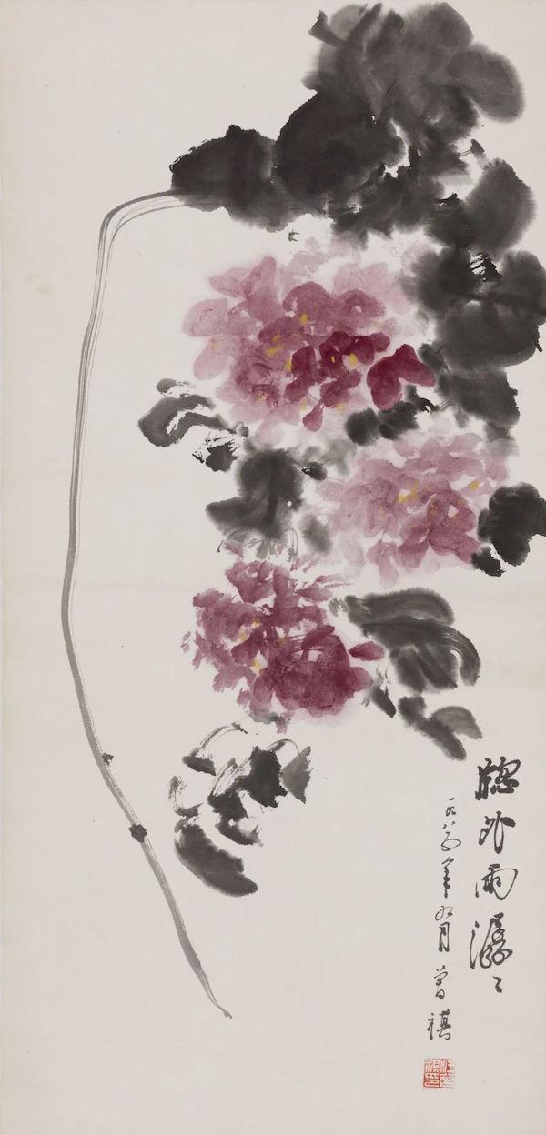 汪曾祺,《窗外雨潺潺》 ,纸本设色,1985年