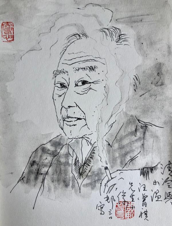 汪曾祺速写小像  顾村言 图