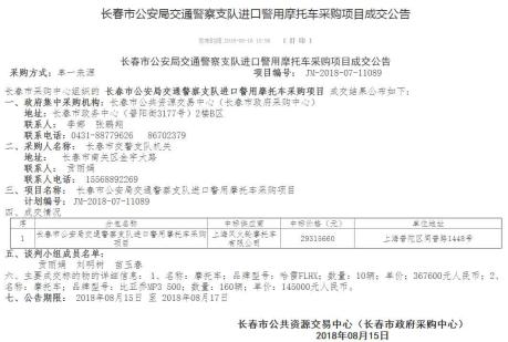 吉林省政府采购网曾于2018年8月16日发布的《长春市公安局交通警察支队进口警用摩托车采购项目成交公告》网站截图