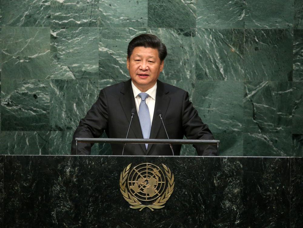 2015年9月28日,国家主席习近平在纽约联合国总部出席第七十届联合国大会一般性辩论并发表题为《携手构建合作共赢新伙伴 同心打造人类命运共同体》的重要讲话。新华社记者 庞兴雷 摄