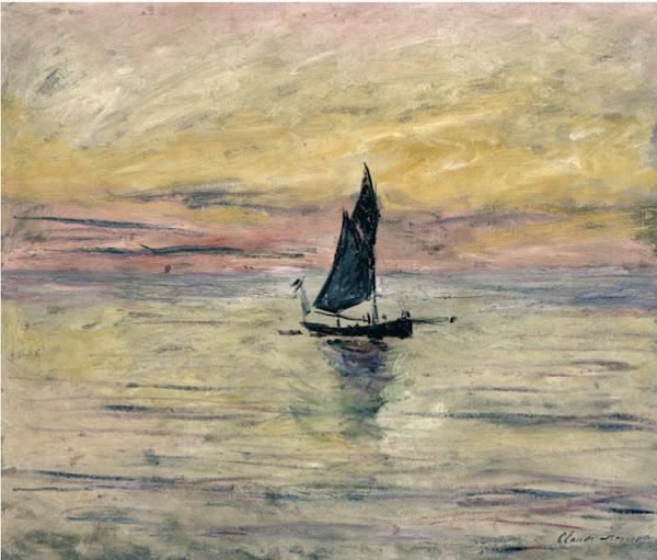 克劳德·莫奈,《帆船,夜晚印象》,1885