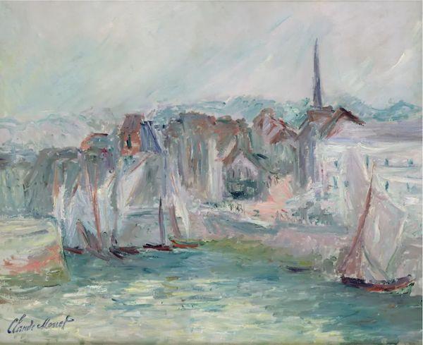 克劳德·莫奈,《翁费勒尔港的船只》,1917
