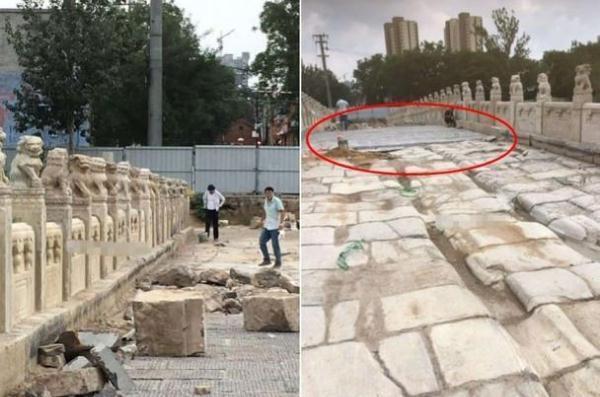 网友拍摄的衡水安济桥修缮状况。