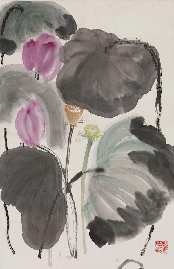 汪曾祺,《莲蓬》,纸本设色