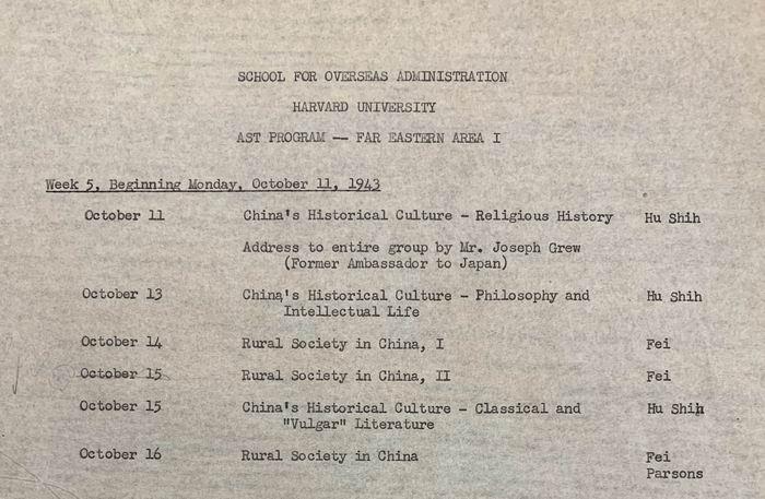 这张哈佛特训科中日文班的课程表记录了1943年10月胡适、费孝通、帕森斯等人讲课的时间和内容。