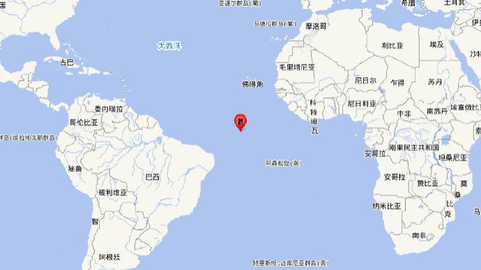 中大西洋海岭中部发生6.9级地震,震源深度10千米