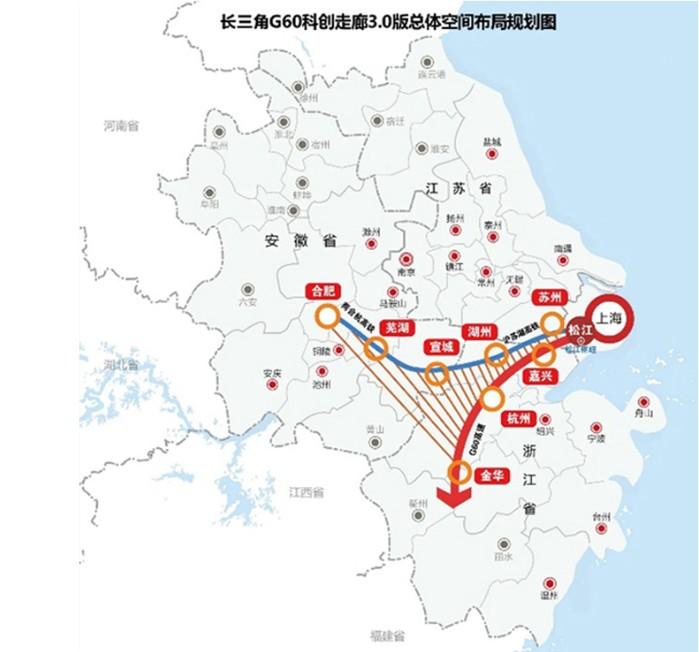 长三角G60科创走廊总体空间布局规划图。澎湃新闻见习记者 陈悦 图