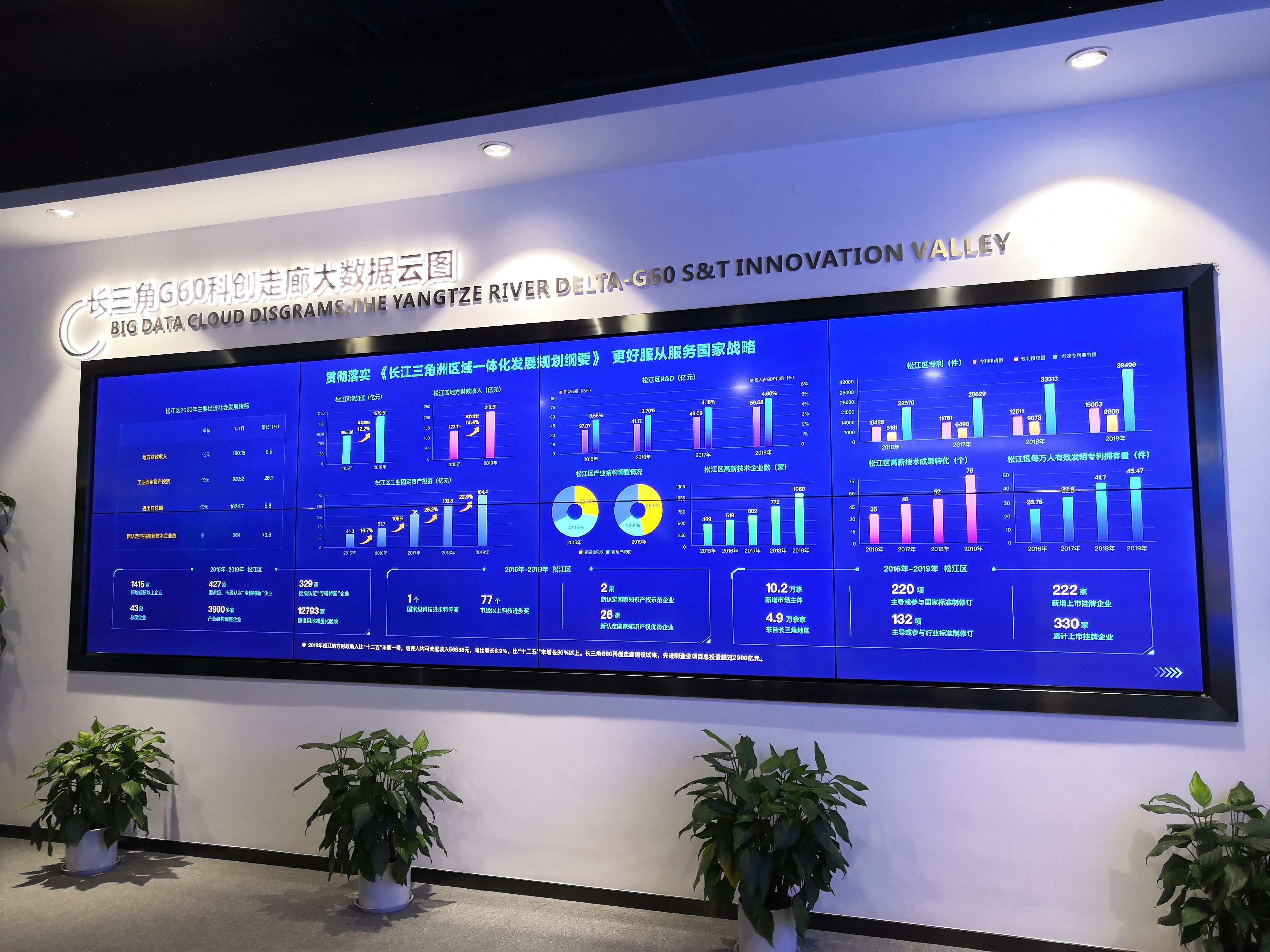 长三角G60科创走廊大数据云图。澎湃新闻见习记者 陈悦 图