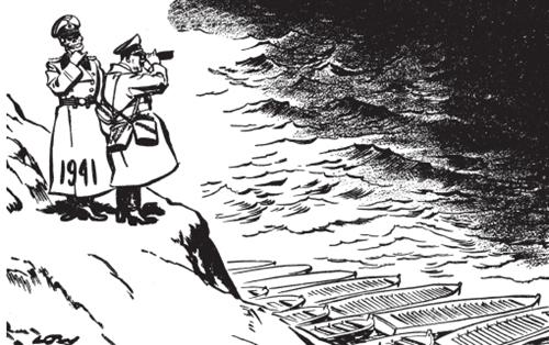 <strong>新年展望</strong><BR/>这幅漫画发表于1940年末,此时的英国人可以自豪地回首在过去一年中取得的无与伦比的成就。在希特勒横行西欧之后,英国顶住了对伦敦的空袭,德国入侵英伦诸岛的计划毫无进展。因此,1941年把新的问题摆到了希特勒的面前。他要继续在英国拼命吗?他要入侵西班牙和北非吗?他要专注于努力创建一个行之有效的欧洲新秩序吗?或者,他要赌个最大的,豁出全力东进,攻打苏联吗?