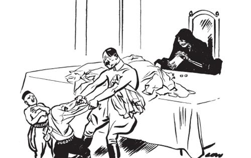 "<strong>""我要把你的衬衫也赌上!""</strong><BR/>希特勒逼迫保加利亚加入轴心国之后,开始对付南斯拉夫。这幅漫画发表于1941年2月19日。一个月后,茨韦特科维奇总理的南斯拉夫政府屈从于希特勒的要求。可是,不到24小时,杜尚·西莫维奇将军发动军事政变,在年轻的彼得国王的支持下建立了抵抗轴心国的政府。占南斯拉夫人口一半以上的塞尔维亚人支持西莫维奇。他们记得一战时奥地利人和德国人是如何对待他们的。克罗地亚人则退缩犹豫,4月6日德军进犯南斯拉夫,塞尔维亚人奋起抵抗,而克罗地亚人不是作壁上观,就是帮助德国人。"