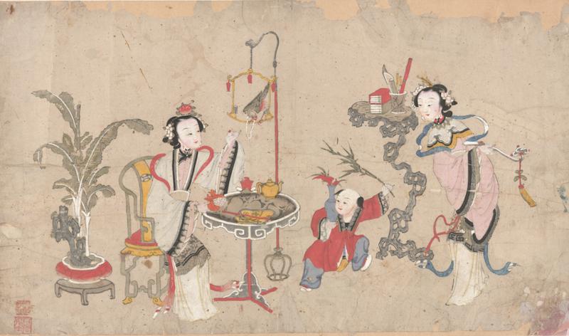 《竹报平安》清代版,套印手绘,杨柳青齐健隆,纵34厘米,横59厘米