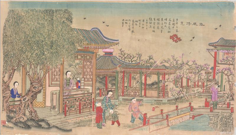 《春风得意》清代版,版印手绘,杨柳青雪鸿山馆,纵60厘米,横108厘米