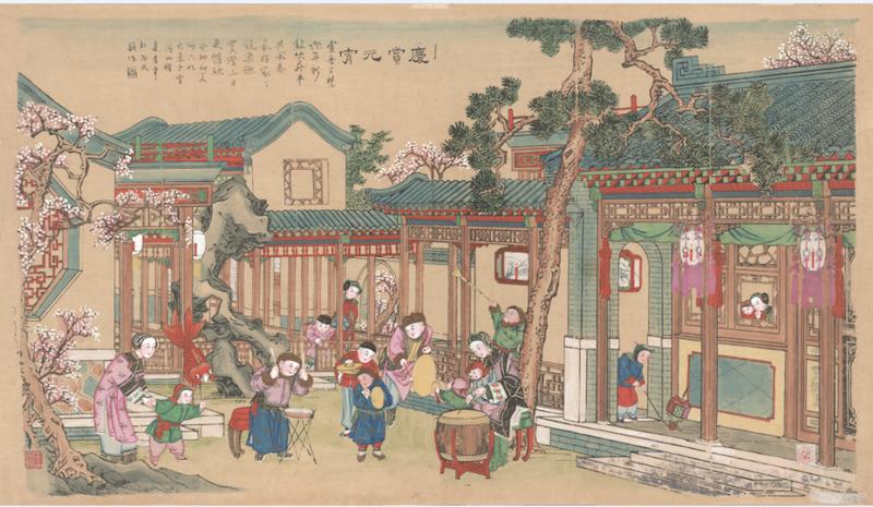 《庆赏元宵》清代版,套印手绘,杨柳青雪鸿山馆,纵58厘米,横104厘米