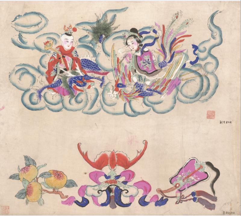 《龙凤呈祥 福善吉庆》清代版,版线手绘,杨柳青,纵60厘米,横68厘米