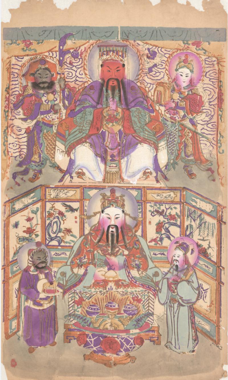 《上关下财》清代版套版,手绘,杨柳青德庆恒,纵56厘米,横32厘米