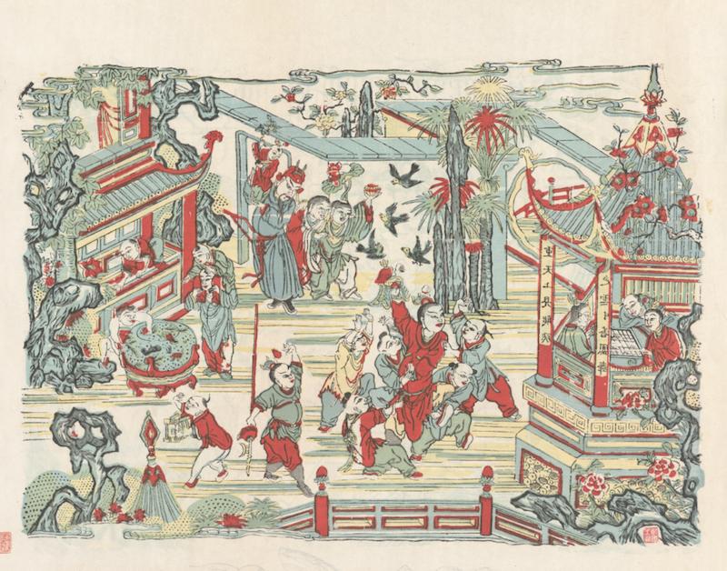 《汾阳宫》清代版,套印年代:五十年代,桃花坞王荣兴,纵46厘米,横60厘米