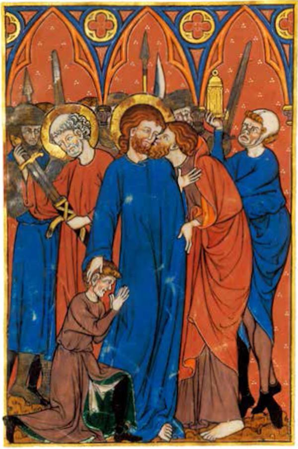 """犹大之吻<BR/>在中世纪的图片资料里,犹大的形象往往是红须红发,这象征他的邪恶本质。在这幅画里,我们观察到某种可以称为""""色彩渗透""""的现象:不仅犹大的形象为红须红发,即将被捕的耶稣也拥有同样的胡须和发色。我们还不清楚其中的原因是什么,但在以犹大之吻为题材的绘画作品里,这样的现象并不罕见。<BR/>《玛丽夫人的图画书》,埃诺,约1285— 1290 年。巴黎,法国国立图书馆,法文手稿16251 号,33 页反面"""