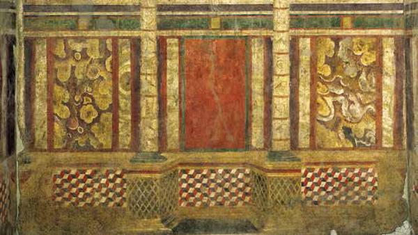 罗马的狮鹫之家<BR/>狮鹫之家是一幢住宅,位于帕拉蒂尼山上。住宅内有一个大厅,厅内的墙壁上有一组运用了透视原理而具有立体感的壁画,属于庞贝第二风格。画中使用了许多不同种类的红色颜料:朱砂、赤铁矿、红铅。<BR/>约公元前80 年,罗马,狮鹫之家