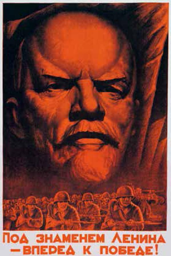 """苏联政治宣传画<BR/>在苏联的宣传品中,红与黑是两大主流色彩。希特勒统治下的德国也使用这两种色彩作为主色,并且在红与黑之外增加了白色。戈培尔(Goebbels)认为白—红—黑三色是""""代表雅利安种族力量的色彩""""。<BR/>《追随列宁旗帜走向胜利》, 苏联海报,1941 年"""