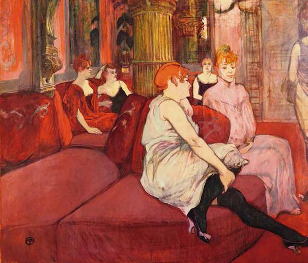 妓女的红色世界<BR/>亨利·德·图卢兹- 洛特雷克,《在磨坊街的沙龙里》,1894— 1895 年。阿尔比,图卢兹- 洛特雷克博物馆