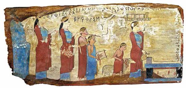 祭祀队伍<BR/>在这块非同寻常的木板画之上,人们牵着一只绵羊前往祭坛献祭。这只绵羊拴在一条红色短绳上,红色象征它是奉献给神的祭品。<BR/>约公元前530 年,雅典,国立考古博物馆