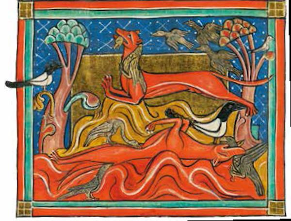 狡猾的狐狸<BR/>狐狸有一身砖红色的皮毛,它代表着动物中最奸诈狡猾的形象。在这幅画里,狐狸躺在地上装死,让鸟儿失去警惕而接近,然后暴起将它们捉住并吃掉。<BR/>《拉丁语动物图册》,约1240 年。牛津,博德利图书馆,博德利手稿764 号, 26 页正面
