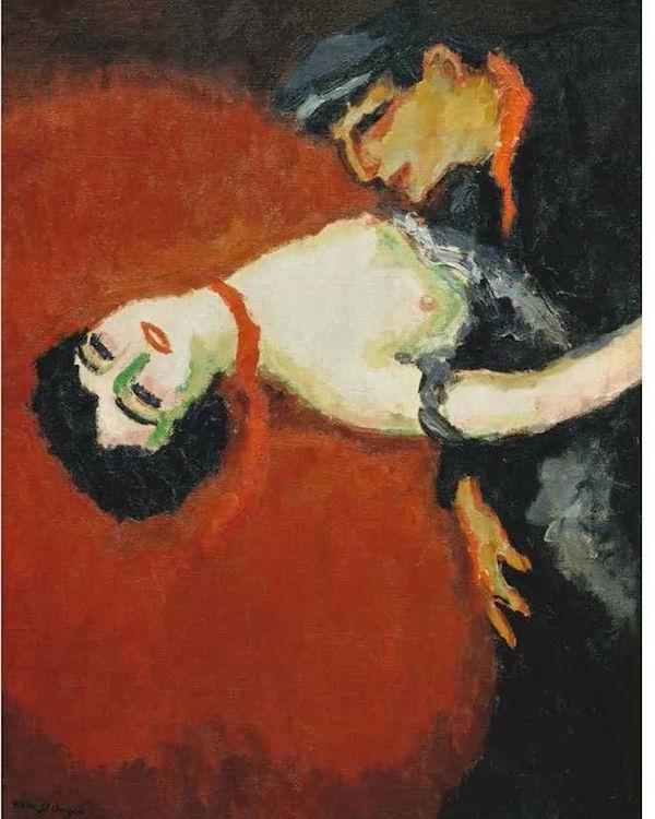 爱之红色<BR/>与其他的野兽派画家一样,凡·东根也擅长运用红色,尤其擅长用红色表现女性。他笔下的红色总是充满诱惑,有时带有色情甚至是危险的感觉。<BR/>凯斯·凡·东根,《红色之吻》,1907 年。私人藏品
