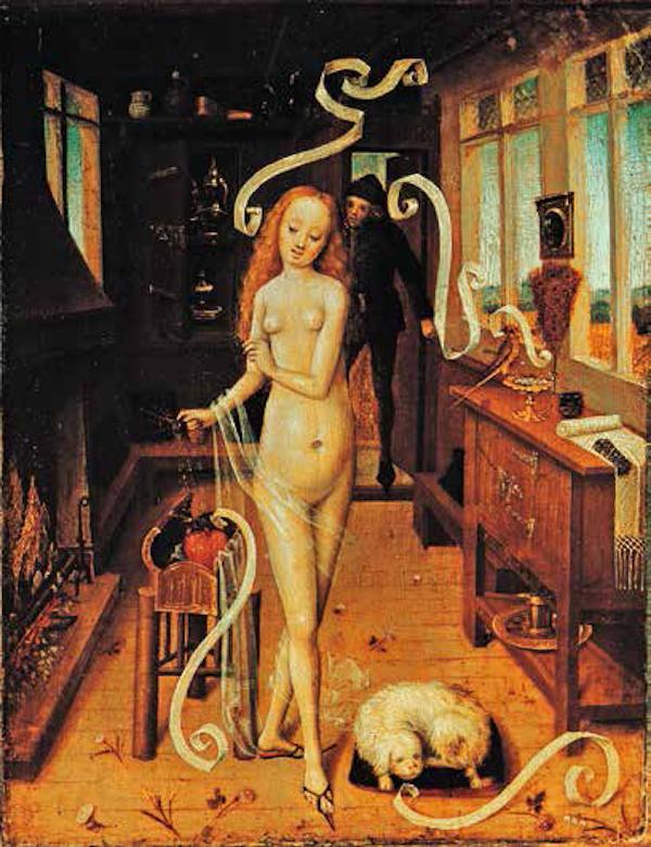 """红发女巫<BR/>在中世纪末和近代之初,人们认为女巫都长着绿色的牙齿和红色的头发。她们会制作各种魔药,用来蛊惑男人,然后将他们带去参加妖魔夜宴。在中世纪的""""爱情魔药""""和毒药配方里,缬草与金丝桃这两种植物始终是不可或缺的成分。<BR/>佚名,《爱情魔药》,下莱茵河谷,约1470— 1480 年。莱比锡,美术博物馆"""