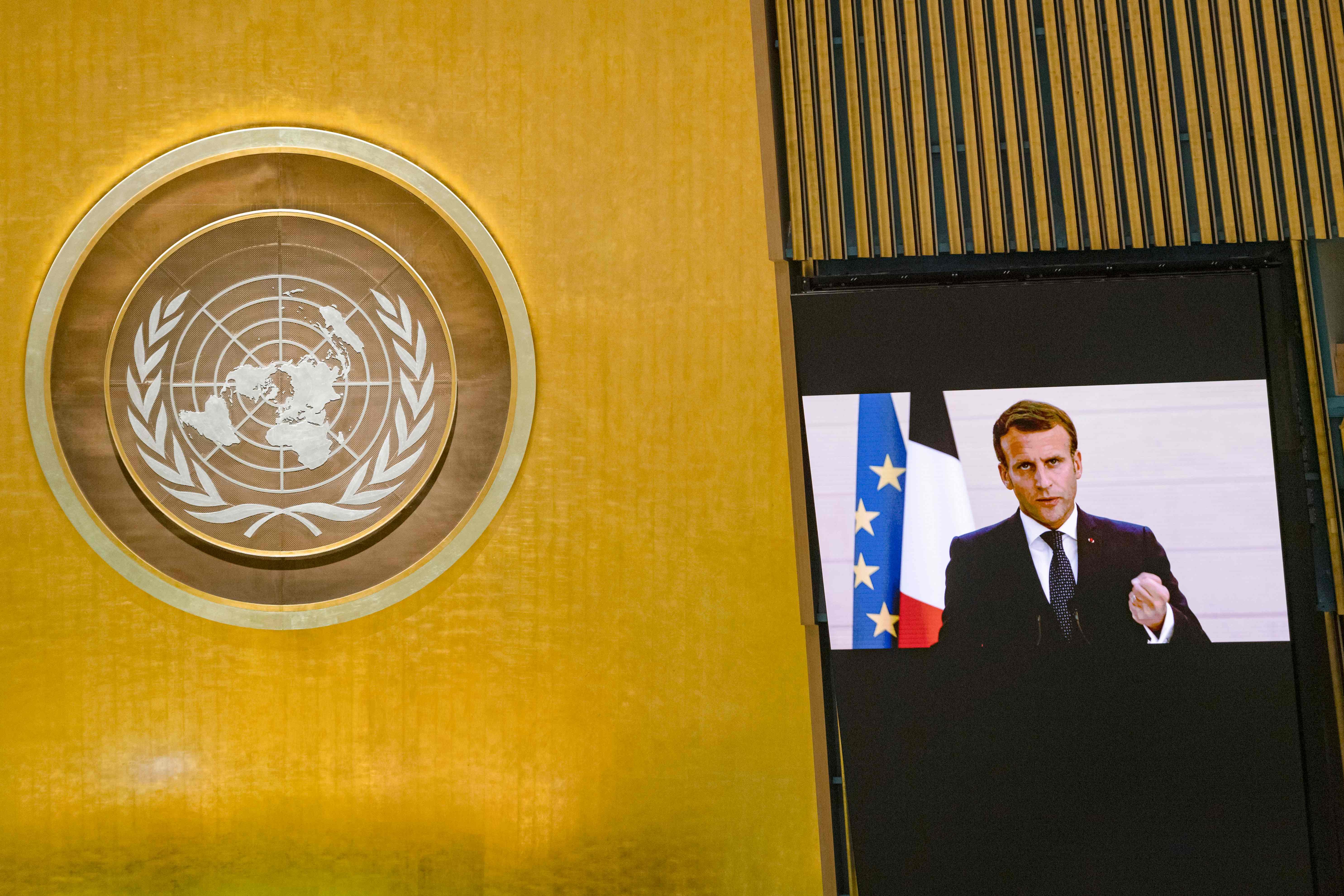 9月22日,在位于纽约的联合国总部,法国总统马克龙发表视频讲话。视觉中国 图