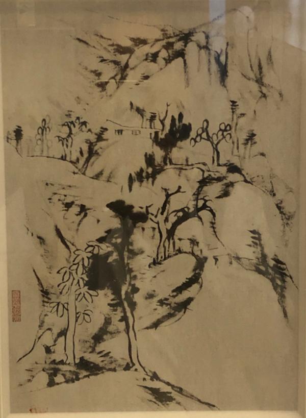 现场展出的八大山人山水画