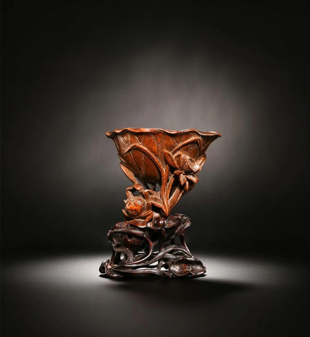 清 竹根雕荷叶杯高14厘米
